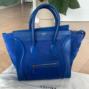 CELINE Mini Luggage in Royal Blue Leather & Suede